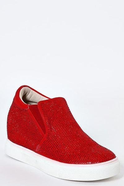 Crystals Embellished Red Wedge Trainers-SinglePrice
