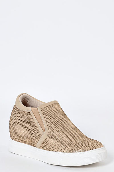Crystals Embellished Gold Wedge Trainers-SinglePrice