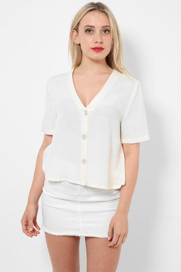 Cream Linen Top With Buttons-SinglePrice