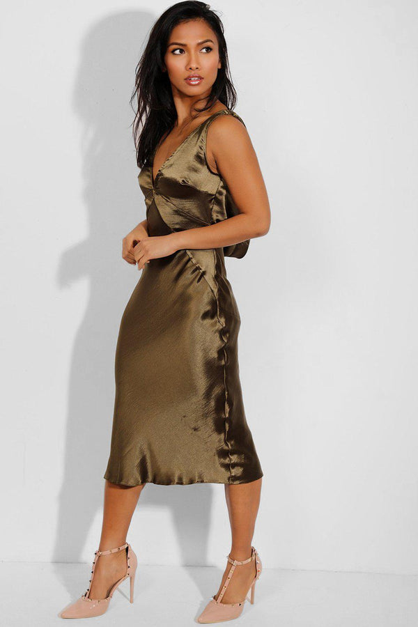 Satin Khaki Cowl Back V-Neck Midi Dress-SinglePrice