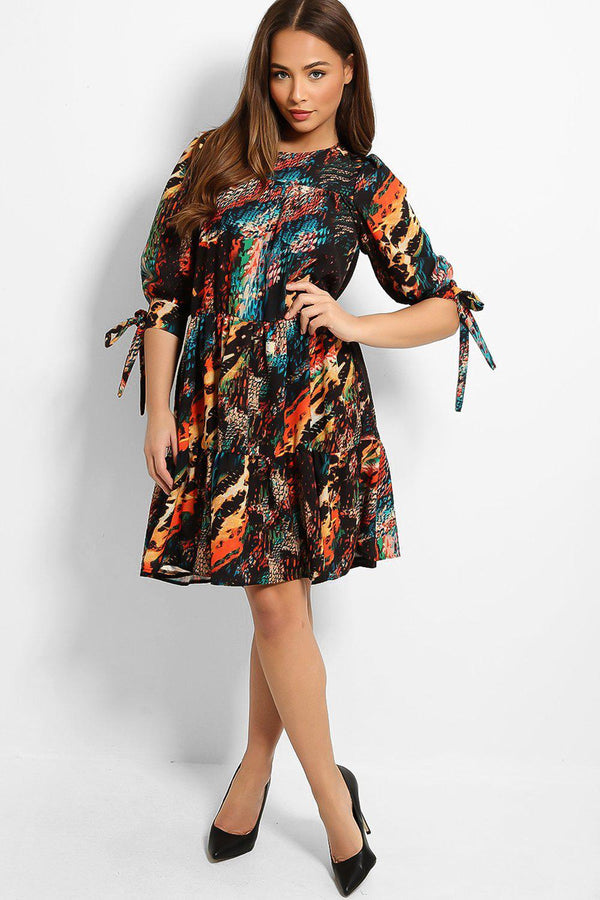 Multicolour Mixed Prints Tiered Midi Dress - SinglePrice