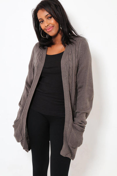 Braided Ribs Knit Open Front Grey Cardie-SinglePrice