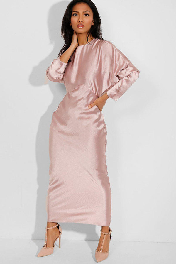 Satin Nude Batwing Sleeves Maxi Dress-SinglePrice