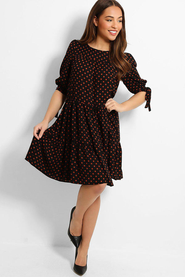 Black Polka Dot Print Tiered Midi Dress - SinglePrice