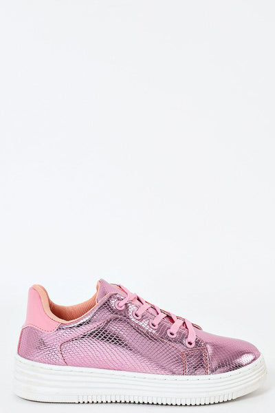 Pink Patent Fish Scale Design Trainers