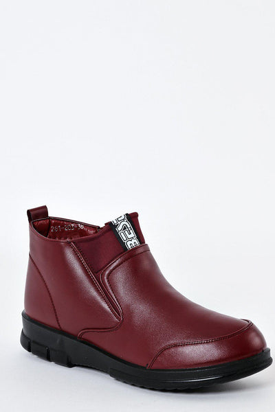 Small Wedge Burgundy Boots