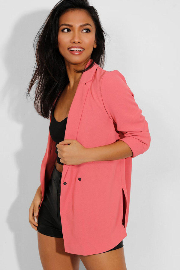 Pink Double Breasted Lightweight Blazer - SinglePrice