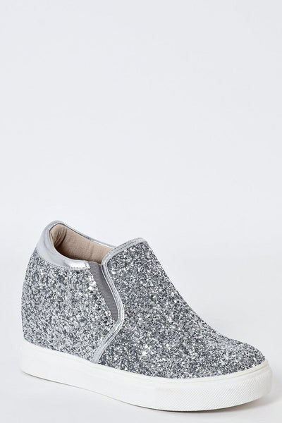 Silver Glitter Hidden Wedge Trainers