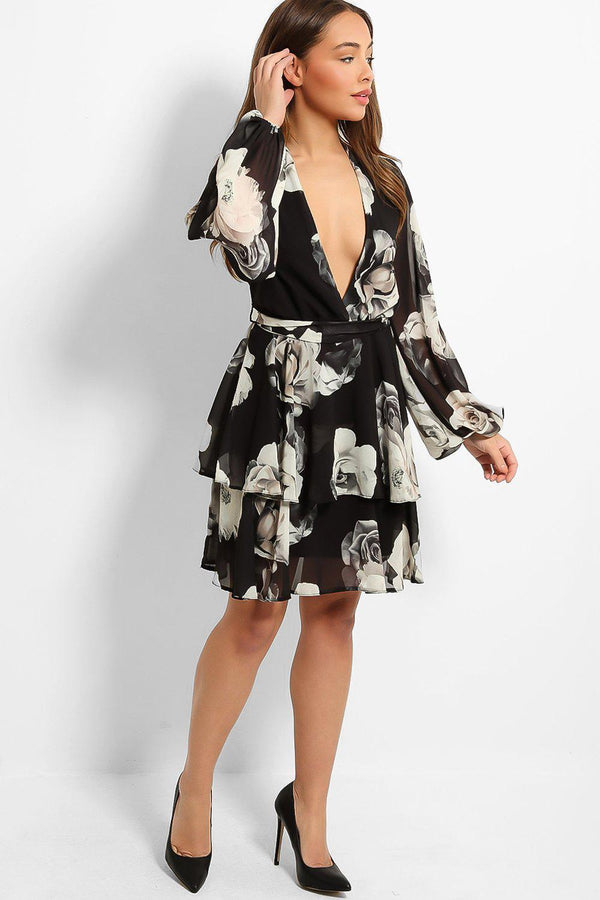 Black Roses Print Deep Plunge Layered Dress - SinglePrice