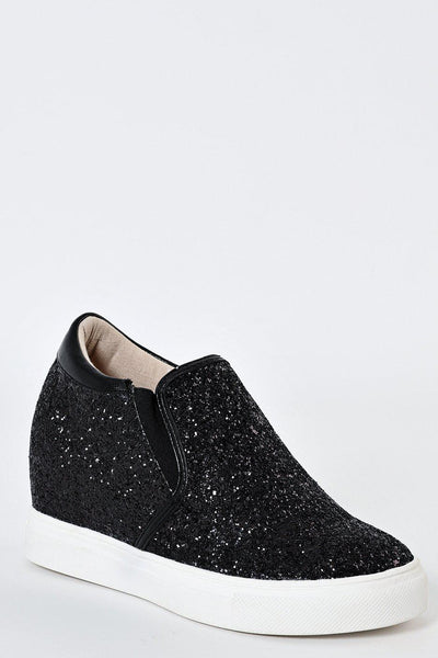 Black Glitter Hidden Wedge Trainers