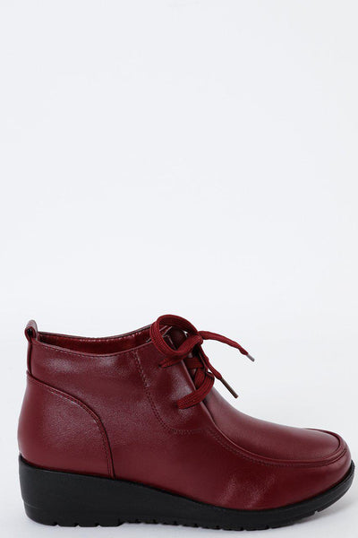 Small Wedge Burgundy Tie Up Boots-SinglePrice