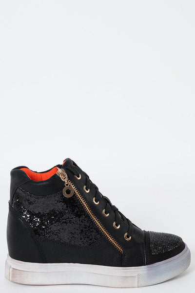 Sequins And Crystals Embellished Wedge Trainers-SinglePrice