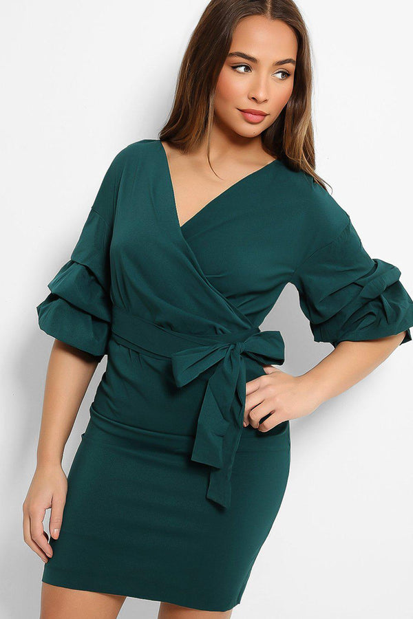 Emerald Green Puff Sleeves Wrap Neck Dress - SinglePrice