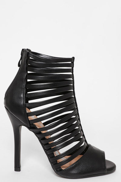 Black Strappy Cage Heels-SinglePrice