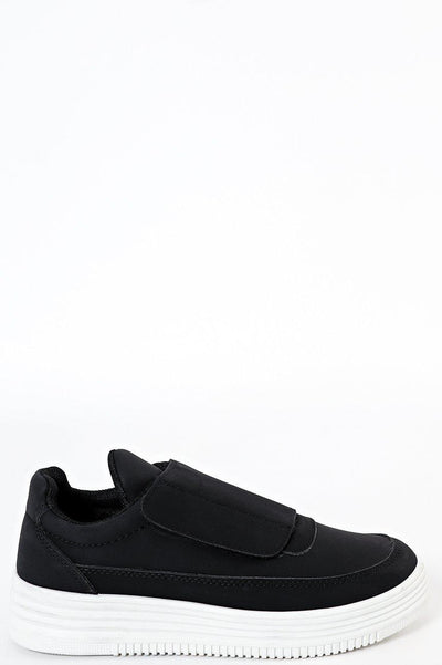 Large Velcro Strap Flat Black Trainers-SinglePrice