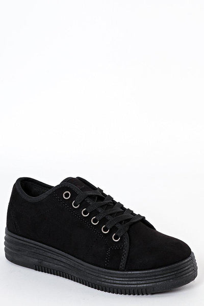 Black Suede Lace Up Trainers-SinglePrice
