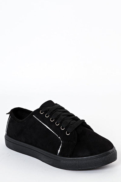 Silver Trim Black Suede Lace Up Trainers-SinglePrice
