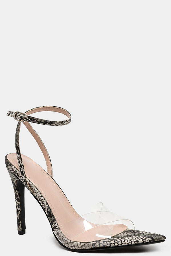 Brown Python Print Crossover Perspex Straps Pointy High Heels-SinglePrice