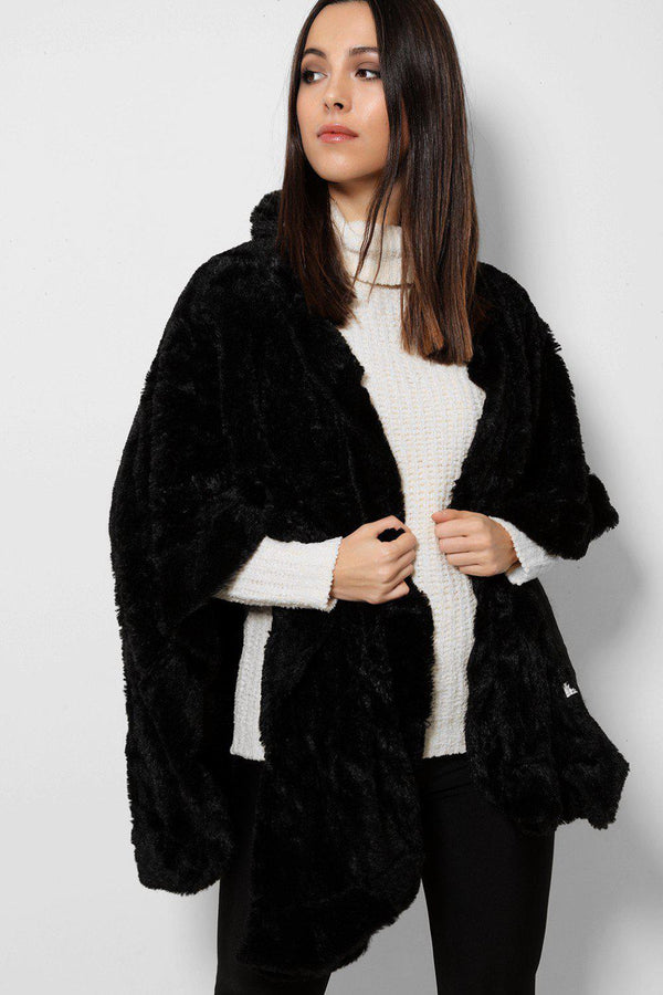 Black Soft Faux Fur Poncho