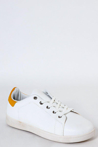 Worn Effect White Vegan Leather Trainers-SinglePrice