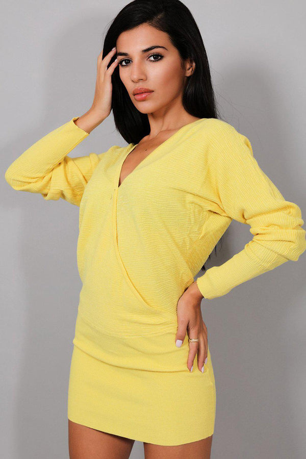 Yellow Knitted Wrap Front Mini Dress - SinglePrice