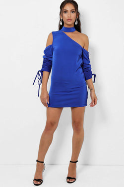 Blue Drawstring Sleeves Asymmetric Cold Shoulder Dress - SinglePrice