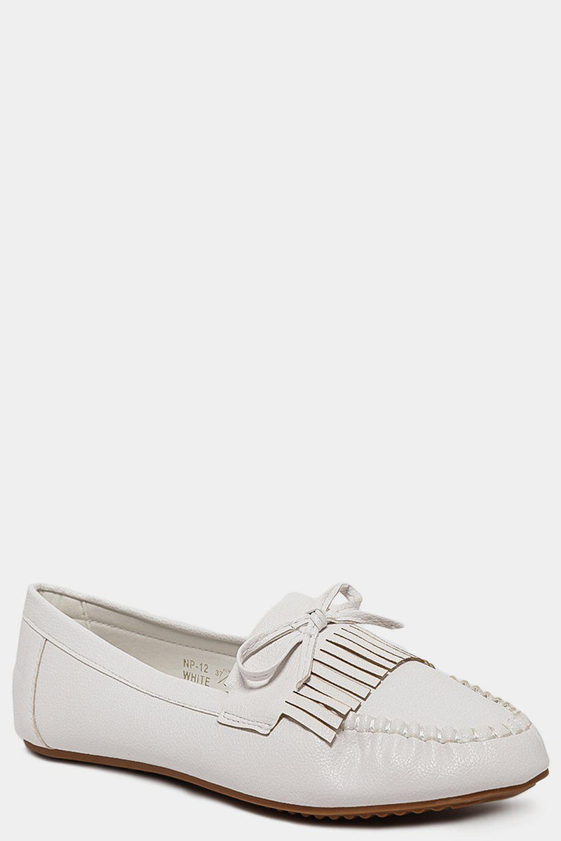 White Vegan Leather Bow Front Moccasins - SinglePrice