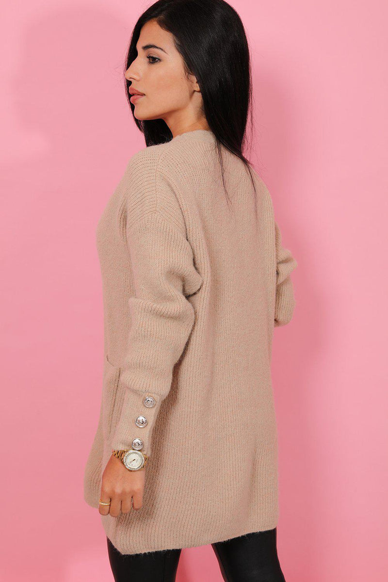 Gold Buttons Sleeve Beige Soft Knit Cardigan - SinglePrice