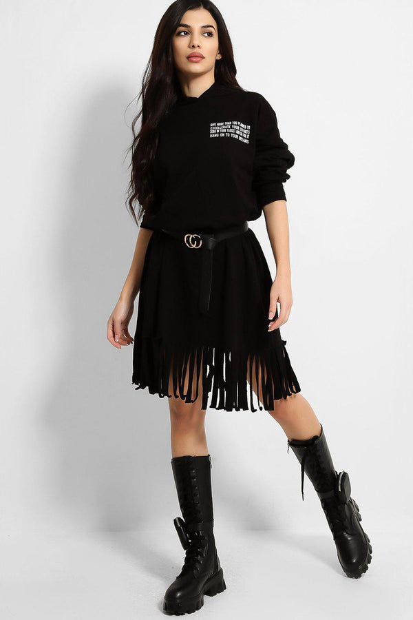 Black Fringed And Belted Hoodie Dress - SinglePrice