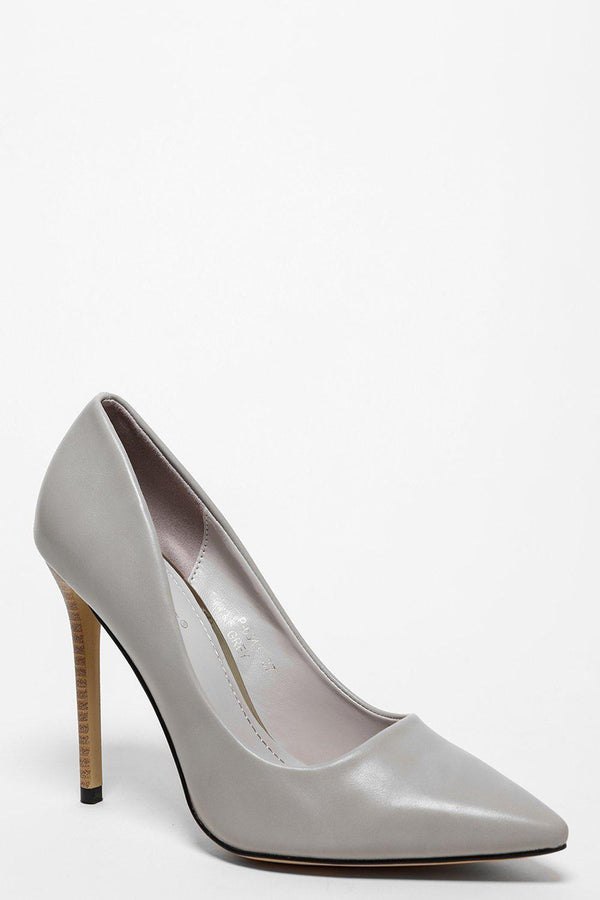Wooden Stiletto Grey Vegan Leather Heels - SinglePrice