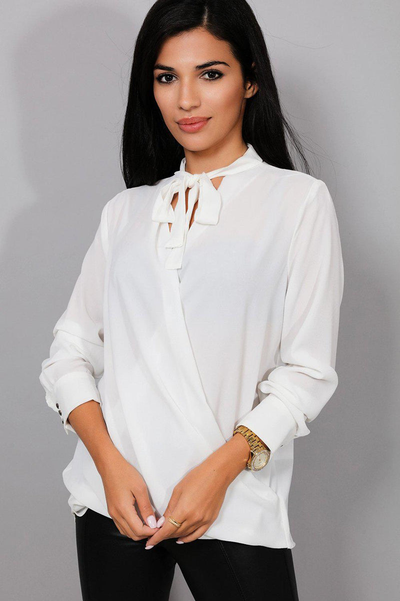 White Wrap Front Pussy Bow Blouse - SinglePrice