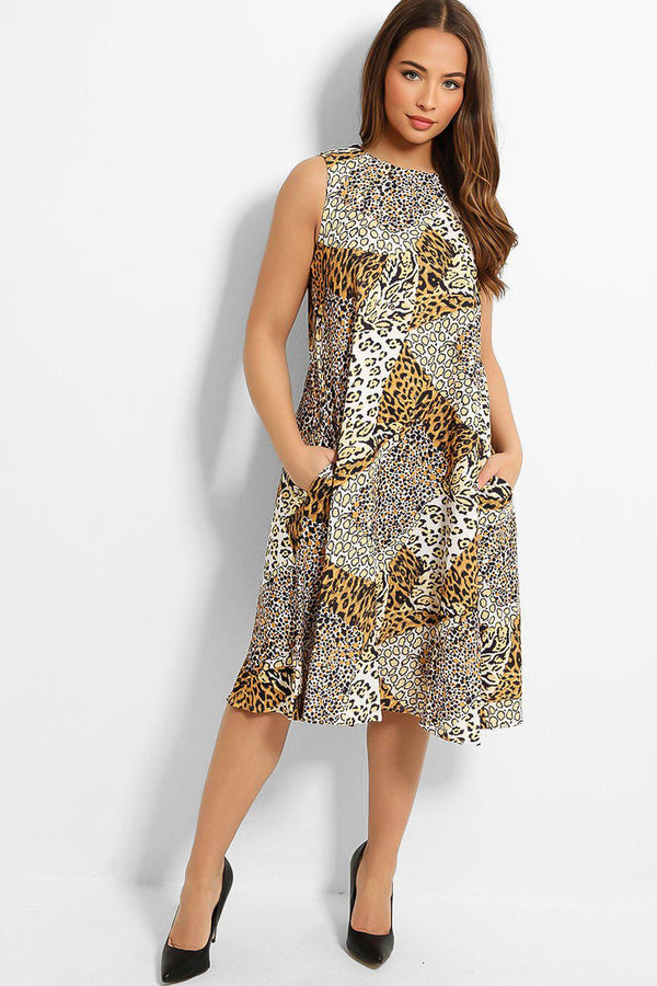 Yellow Leopard Print Patches Sleeveless Midi Dress-SinglePrice