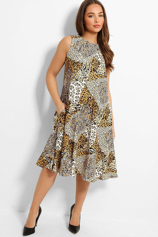 Yellow Leopard Print Patches Sleeveless Midi Dress - SinglePrice