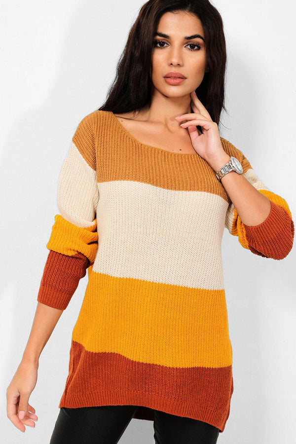 Brown Colour Blocking Ribbed Pullover - SinglePrice