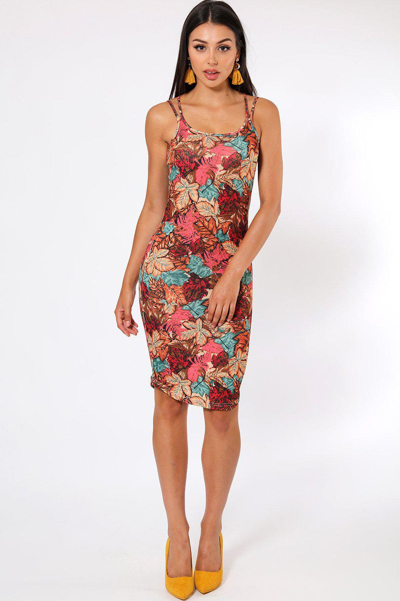 Mixed Leaves Print Strappy Dress - SinglePrice