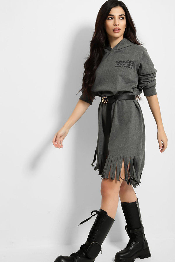 Grey Fringed And Belted Hoodie Dress - SinglePrice