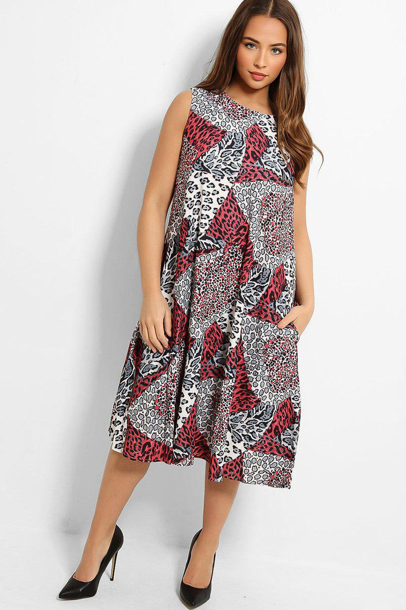 Red Leopard Print Patches Sleeveless Midi Dress - SinglePrice