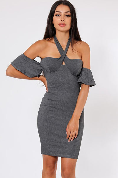 Halter-Neck Off Shoulder Sleeve Ash Grey Dress-SinglePrice
