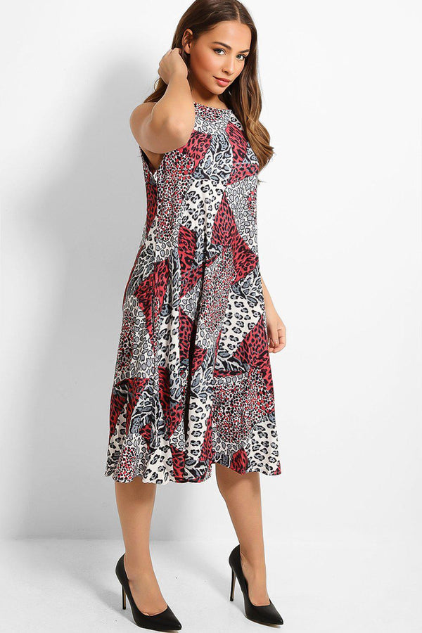 Red Leopard Print Patches Sleeveless Midi Dress-SinglePrice