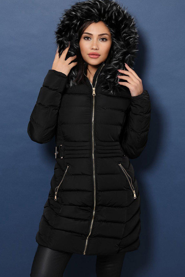 Black Faux Fur Long Padded Coat - SinglePrice