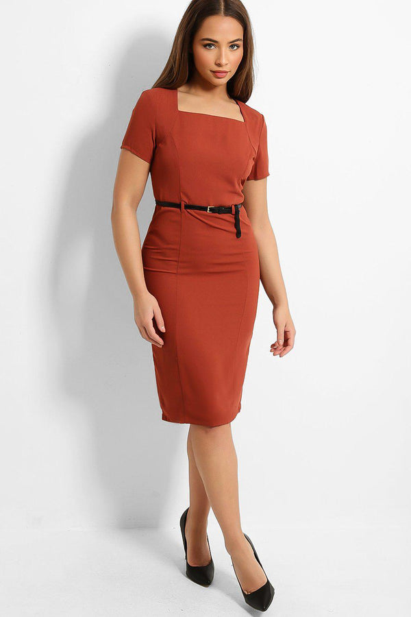 Brown Square Neck Belted Smart Casual Midi Dress - SinglePrice