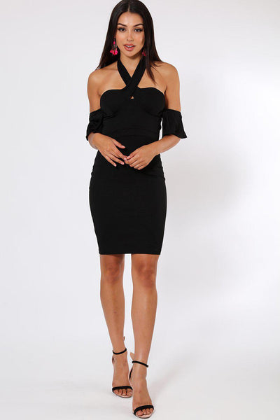 Halter-Neck Off Shoulder Sleeve Black Dress-SinglePrice