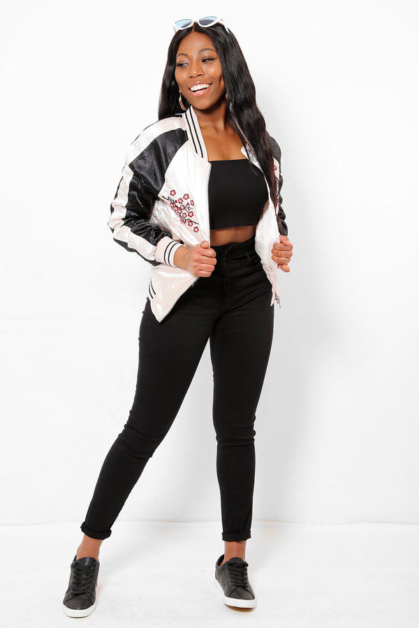 Koi Embroidery Pink And Black Crinkled Satin Bomber-SinglePrice