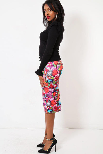 Fruity Love Print Midi Skirt-SinglePrice