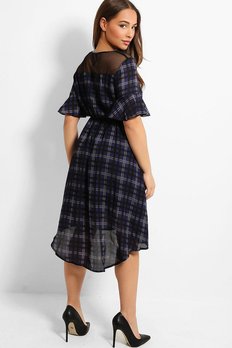 Blue Check Print Mesh Net Neck Dip Hem Dress - SinglePrice
