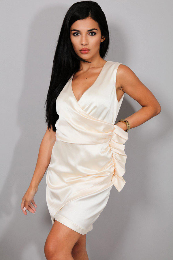 Champagne Draped Satin Side Frill Sleeveless Dress - SinglePrice