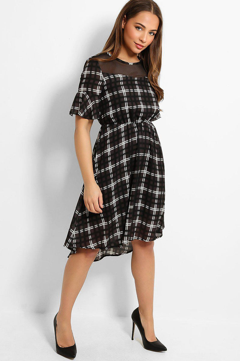 Black White Check Print Mesh Net Neck Dip Hem Dress - SinglePrice
