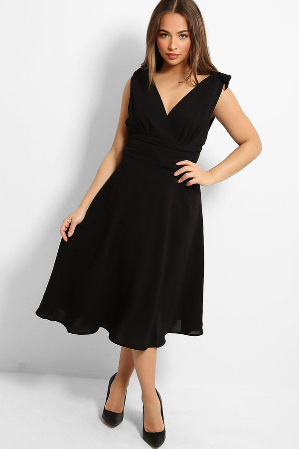 Black Shoulder Ties V-Neck Midi Dress - SinglePrice