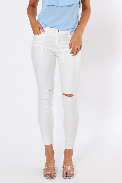 Ripped Knee White Waxed Jeans-SinglePrice