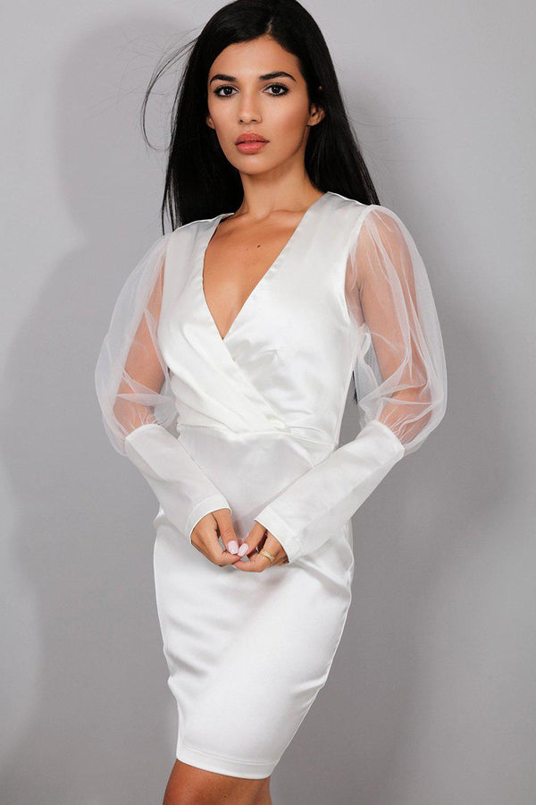 White Satin Chiffon Sleeves Deep Plunge Dress - SinglePrice